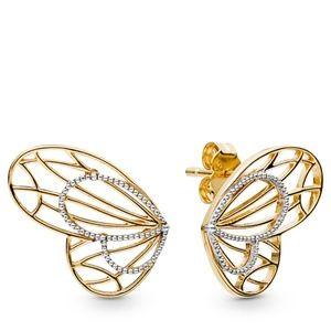 Gold Shine Openwork Butterflies Stud Earrings